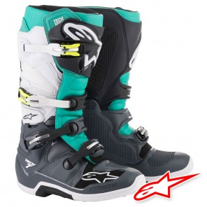 Stivali Cross Alpinestars TECH 7 - Grigio Scuro Teal Bianco