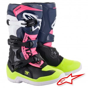 Stivali Cross da Bambino Alpinestars TECH 3S Youth - Nero Blu Scuro Rosa Fluo