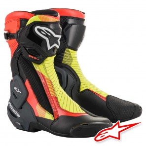 Stivali Moto Alpinestars SMX PLUS V2 - Nero Rosso Fluo Giallo Fluo Grigio