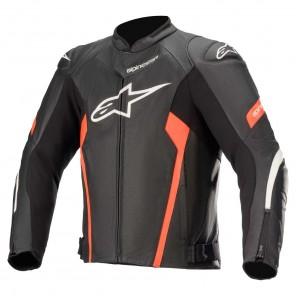 Giacca Pelle Moto Alpinestars FASTER V2 AIRFLOW - Nero Bianco Rosso Fluo