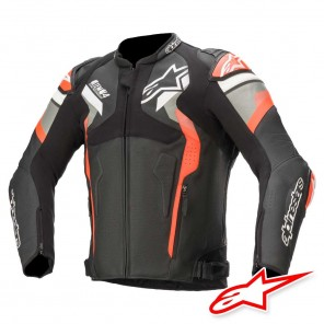 Giacca Pelle Moto Alpinestars ATEM V4 - Nero Grigio Medio Rosso Fluo