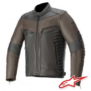 Giacca Pelle Moto Alpinestars BURSTUN - Nero Marrone