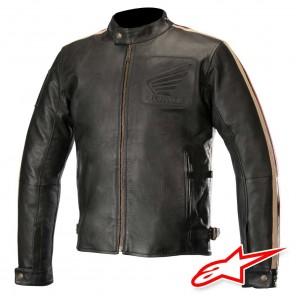 Giacca Pelle Moto Alpinestars HONDA CHARLIE - Nero Beige Rosso