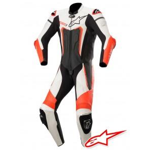 Tuta Pelle Moto Alpinestars MOTEGI V3 - Nero Bianco Rosso Fluo