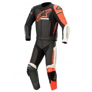 Tuta Pelle Divisibile da Moto Alpinestars GP FORCE PHANTOM 2pc - Nero Bianco Rosso Fluo