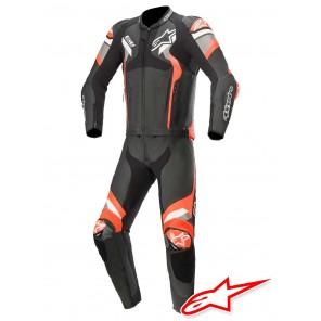 Tuta Pelle Divisibile Moto Alpinestars ATEM V4 - Nero Grigio Medio Rosso Fluo