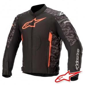 Giacca Moto Alpinestars T-GP PLUS R V3 - Nero Camo Rosso Fluo