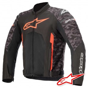 Giacca Moto Alpinestars T-GP PLUS R V3 AIR - Nero Camo Rosso Fluo