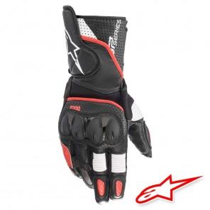 Guanti Pelle Moto Alpinestars SP-2 V3 - Nero Bianco Rosso Vivo