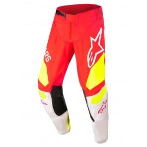 Pantaloni Motocross Alpinestars TECHSTAR FACTORY - Rosso Fluo Bianco Giallo Fluo
