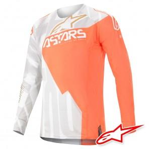 Maglia Cross Alpinestars TECHSTAR FACTORY METAL - Bianco Arancione Fluo Oro
