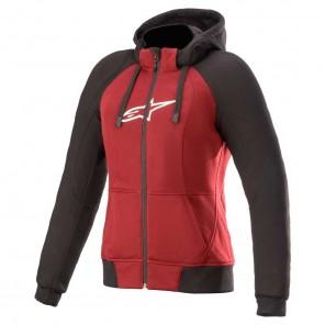 Felpa Moto Donna Alpinestars STELLA CHROME SPORT Hoodie - Jasper Red Black White