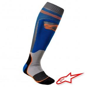 Calze Moto Alpinestars MX PLUS-1 - Blu Arancione Fluo
