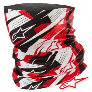 Collare Moto Alpinestars BLURRED Neck Tube - Nero Bianco Rosso