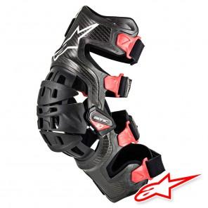 Ginocchiera Alpinestars BIONIC-10 CARBON Knee Brace - Destra - Nero Rosso