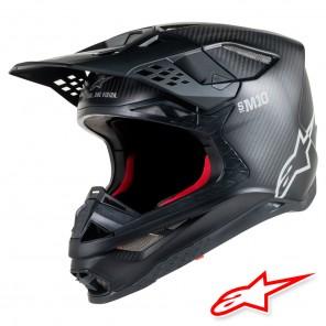 Casco Motocross Alpinestars SUPERTECH S-M10 Solid - Nero Opaco Carbonio