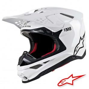 Casco Motocross Alpinestars SUPERTECH S-M8 Solid - Bianco Lucido