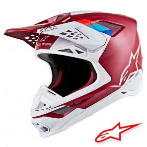 Casco Motocross Alpinestars SUPERTECH S-M8 Contact - Rosso Scuro Bianco