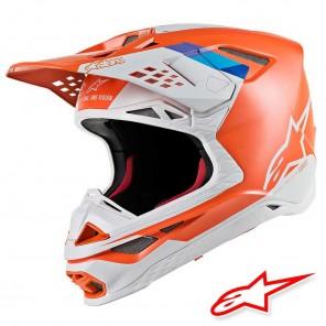 Casco Motocross Alpinestars SUPERTECH S-M8 Contact - Arancione Chiaro Grigio Freddo