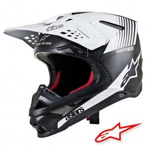 Casco Motocross Alpinestars SUPERTECH S-M10 Dyno - Nero Opaco Carbonio Bianco