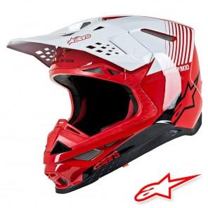 Casco Motocross Alpinestars SUPERTECH S-M10 Dyno - Rosso Bianco Lucido