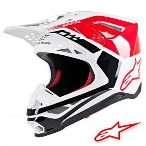 Casco Motocross Alpinestars SUPERTECH S-M8 Triple - Rosso Bianco Lucido