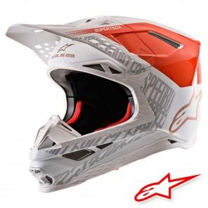 Casco Motocross Alpinestars SUPERTECH S-M8 Triple - Arancione Fluo Bianco Oro