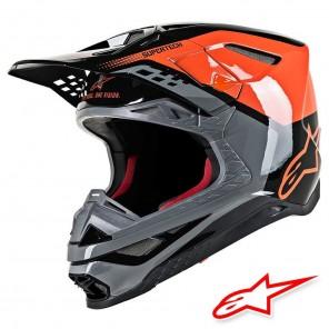Casco Motocross Alpinestars SUPERTECH S-M8 Triple - Arancione Grigio Medio Nero Lucido