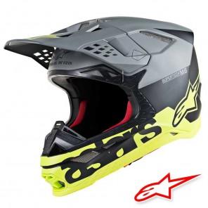 Casco Motocross Alpinestars SUPERTECH S-M8 Radium - Nero Grigio Medio Giallo Fluo