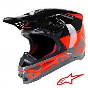 Casco Motocross Alpinestars SUPERTECH S-M8 Radium - Rosso Fluo Nero Grigio Medio