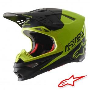 Casco Motocross Alpinestars SUPERTECH S-M8 Echo - Nero Giallo Fluo