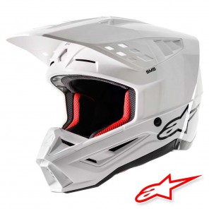 Casco Motocross Alpinestars S-M5 Solid - Bianco Lucido
