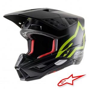 Casco Motocross Alpinestars S-M5 Compass - Nero Giallo Fluo Opaco