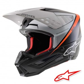 Casco Motocross Alpinestars S-M5 Rayon - Nero Bianco Arancione Fluo Opaco