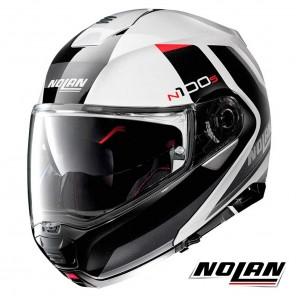 Casco Moto Nolan N100-5 N-COM Hilltop 48 - Bianco Metal Nero