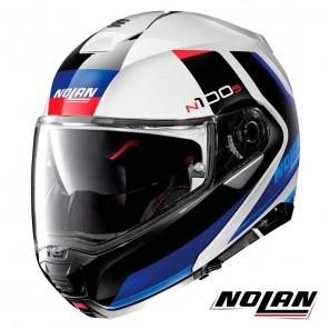 Casco Moto Nolan N100-5 N-COM Hilltop 49 - Bianco Metal Blu