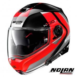 Casco Moto Nolan N100-5 N-COM Hilltop 50 - Nero Rosso