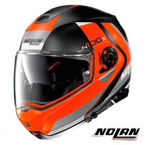 Casco Moto Nolan N100-5 N-COM Hilltop 52 - Nero Arancione Opaco