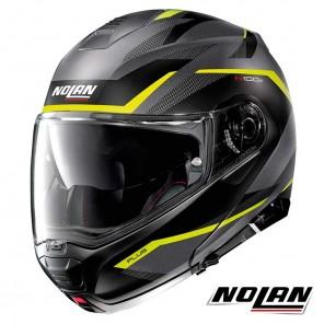 Casco Moto Nolan N100-5 PLUS N-COM Overland 33 - Grigio Lava Giallo Opaco