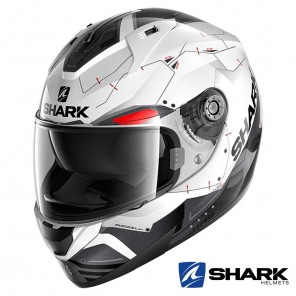 Casco Moto Integrale Shark RIDILL Mecca - Bianco Nero Rosso