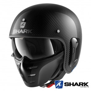 Casco Moto Jet Shark S-DRAK CARBON 2 Carbon Skin - Nero
