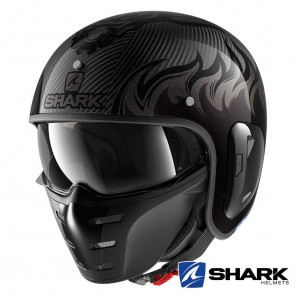 Casco Moto Jet Shark S-DRAK CARBON 2 Dagon - Nero Antracite