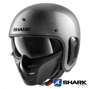 Casco Moto Jet Shark S-DRAK 2 Blank Glitter - Argento