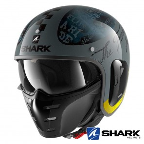 Casco Moto Jet Shark S-DRAK 2 Tripp In - Antracite Giallo