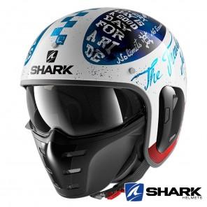 Casco Moto Jet Shark S-DRAK 2 Tripp In - Bianco Blu Rosso