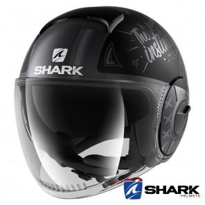 Casco Moto Jet Shark NANO Tribute Mat RM - Nero Antracite Argento