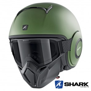 Casco Jet Shark STREET-DRAK Blank Mat - Verde