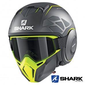 Casco Jet Shark STREET-DRAK Hurok Mat - Antracite Giallo Nero