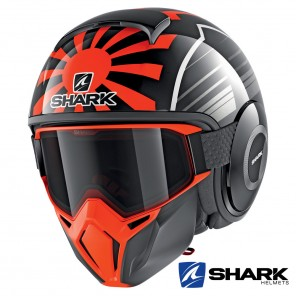 Casco Jet Shark STREET-DRAK Replica Zarco Malaysian GP - Nero Arancione Antracite