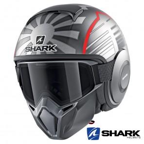 Casco Jet Shark STREET-DRAK Replica Zarco Malaysian GP Mat - Antracite Argento Rosso